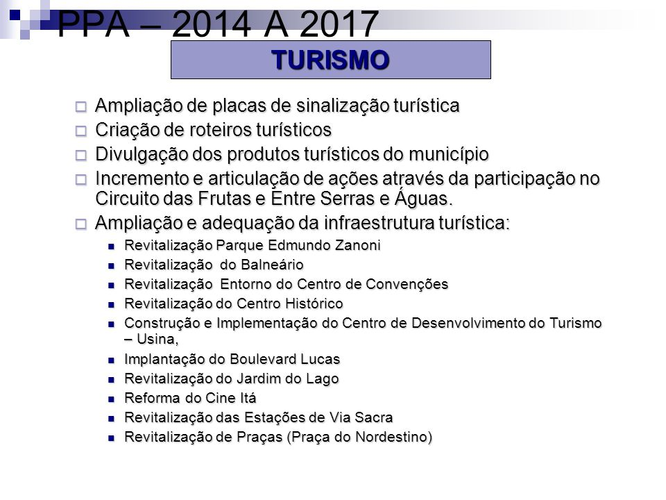 PPA – 2014 A 2017 TURISMO Ampliação de placas de sinalização turística