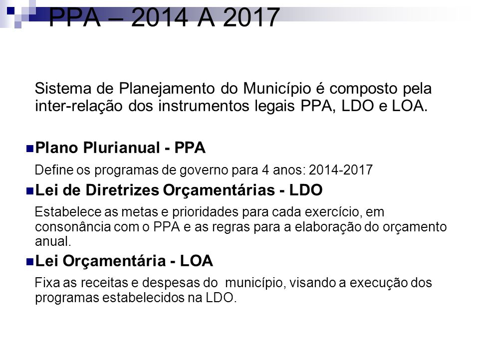 PPA – 2014 A 2017 Sistema de Planejamento do Município é composto pela inter-relação dos instrumentos legais PPA, LDO e LOA.
