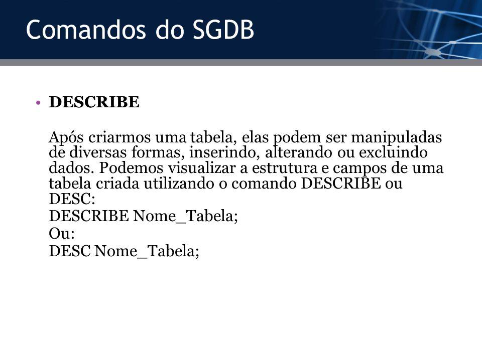 Comandos do SGDB DESCRIBE