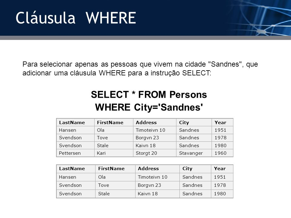 Cláusula WHERE SELECT * FROM Persons WHERE City= Sandnes