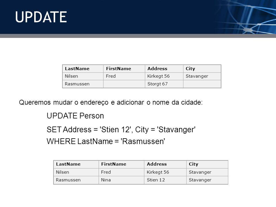 UPDATE SET Address = Stien 12 , City = Stavanger