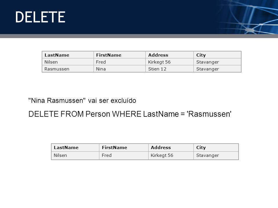 DELETE DELETE FROM Person WHERE LastName = Rasmussen