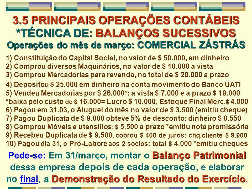 3. 5 PRINCIPAIS OPERAÇÕES CONTÁBEIS