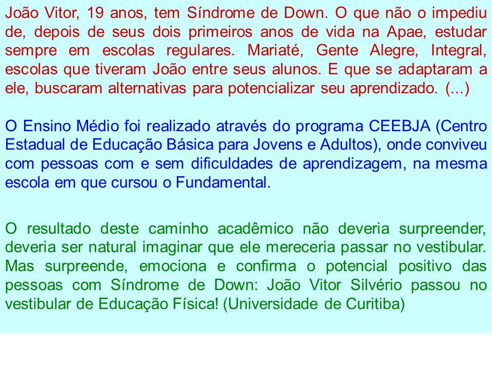 João Vitor, 19 anos, tem Síndrome de Down