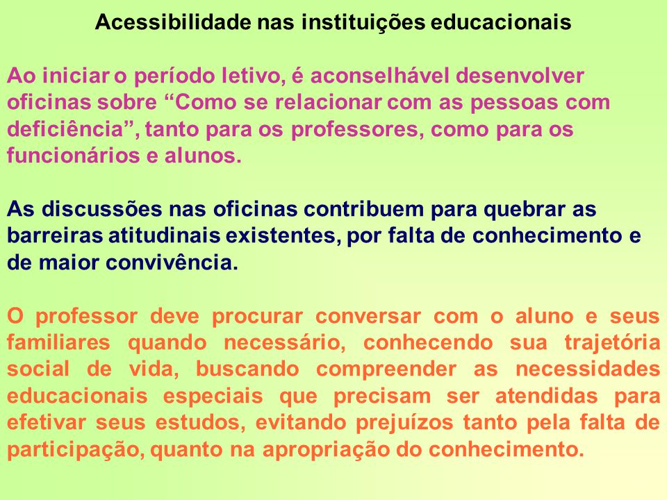 Acessibilidade nas instituições educacionais