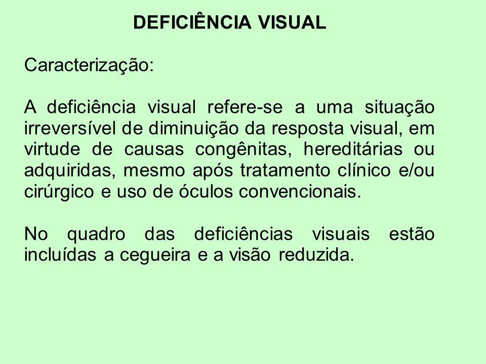 DEFICIÊNCIA VISUAL Caracterização: