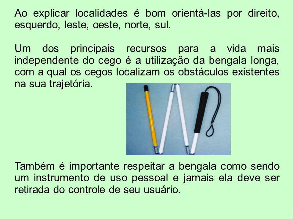Ao explicar localidades é bom orientá-las por direito, esquerdo, leste, oeste, norte, sul.