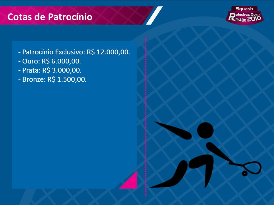 Cotas de Patrocínio Patrocínio Exclusivo: R$ 12.000,00.