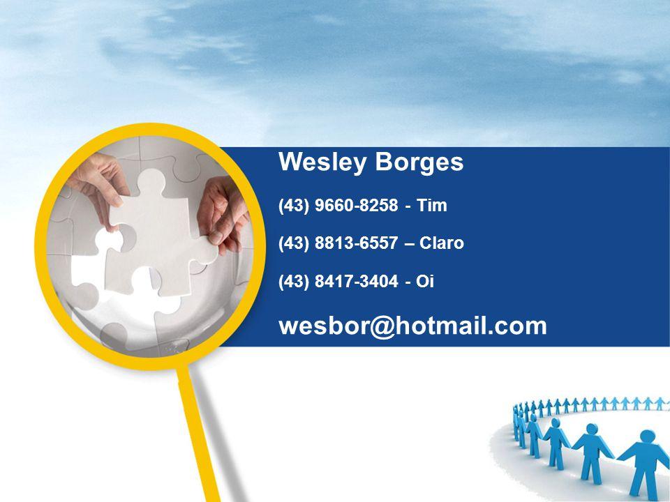 Wesley Borges wesbor@hotmail.com (43) 9660-8258 - Tim
