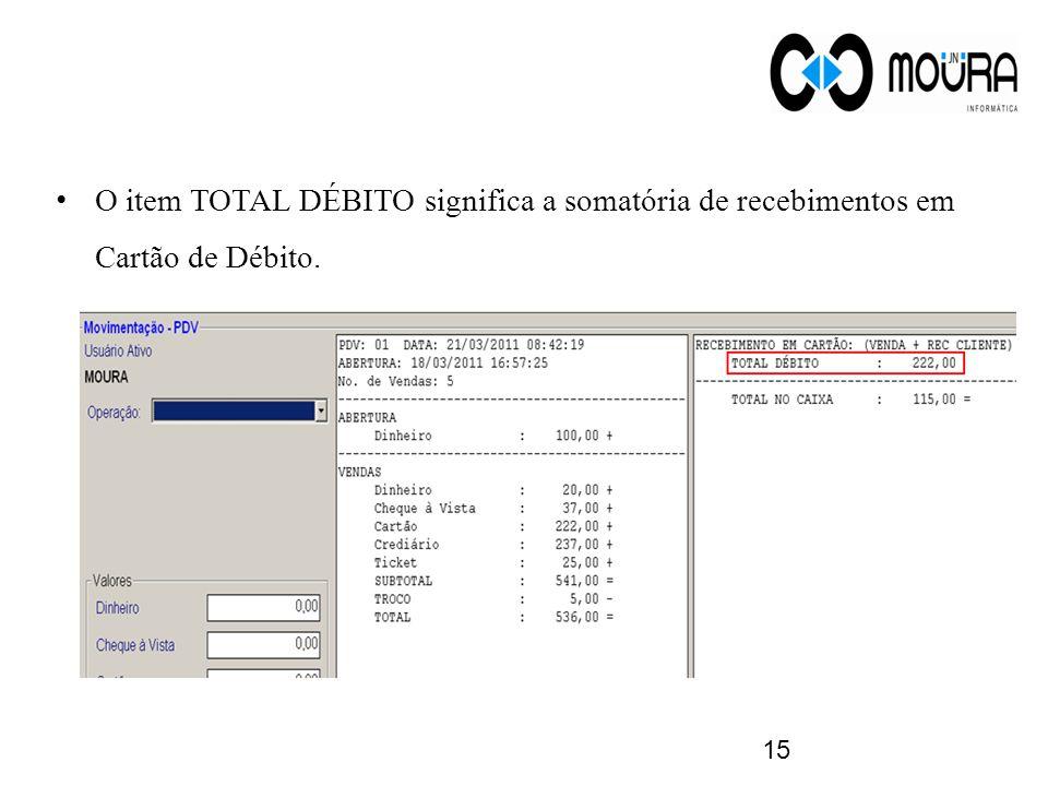 O item TOTAL DÉBITO significa a somatória de recebimentos em Cartão de Débito.