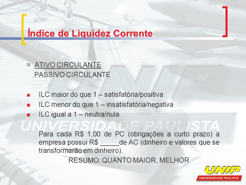 Índice de Liquidez Corrente