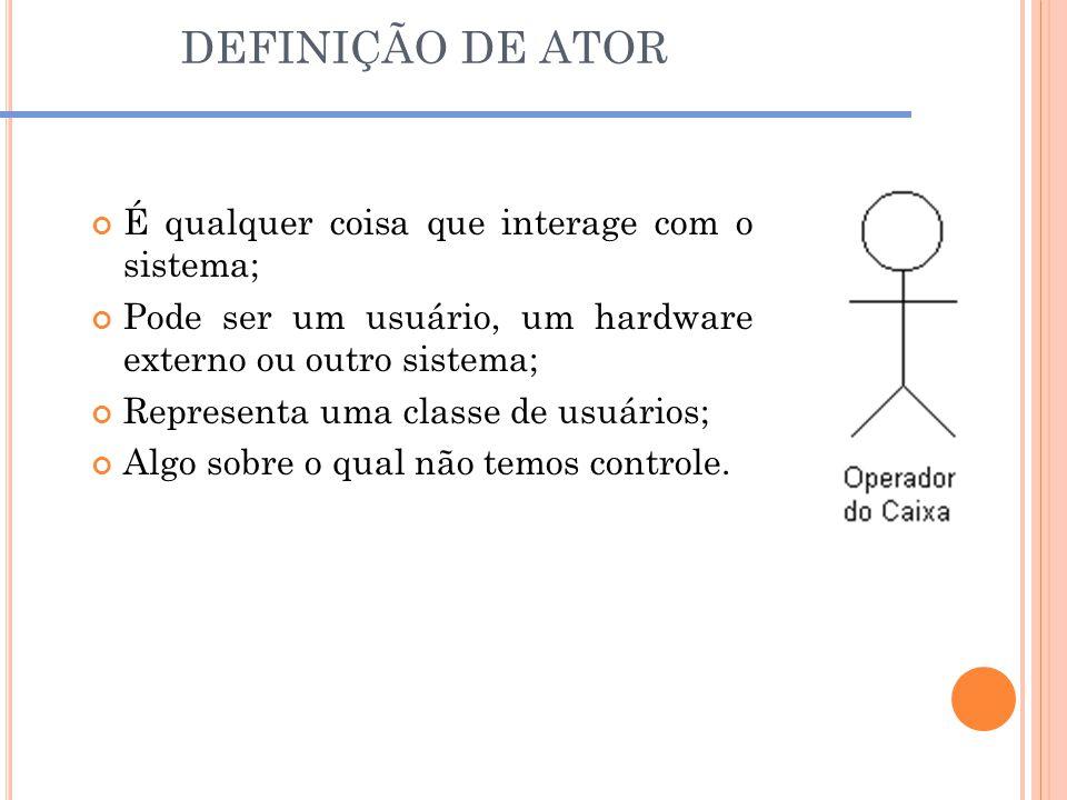 DEFINIÇÃO DE ATOR É qualquer coisa que interage com o sistema;