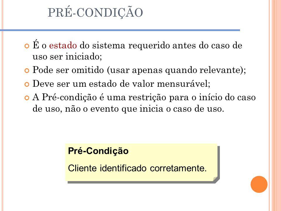 PRÉ-CONDIÇÃO É o estado do sistema requerido antes do caso de uso ser iniciado; Pode ser omitido (usar apenas quando relevante);