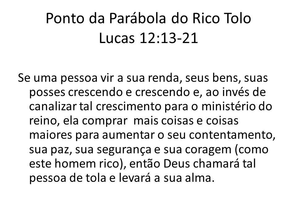 Ponto da Parábola do Rico Tolo Lucas 12:13-21