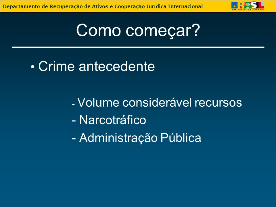 Como começar • Crime antecedente - Narcotráfico