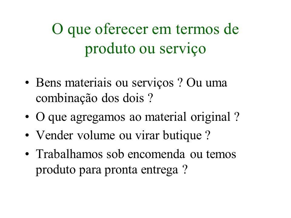 O que oferecer em termos de produto ou serviço