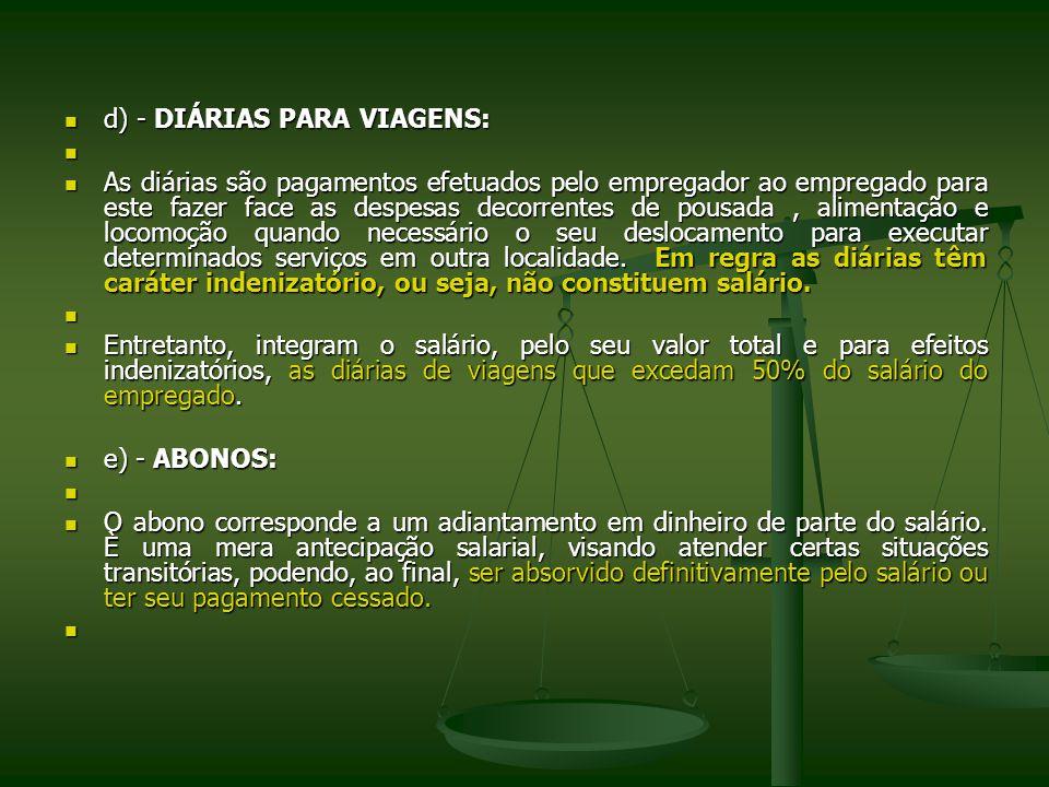 d) - DIÁRIAS PARA VIAGENS: