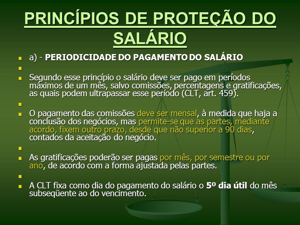 PRINCÍPIOS DE PROTEÇÃO DO SALÁRIO