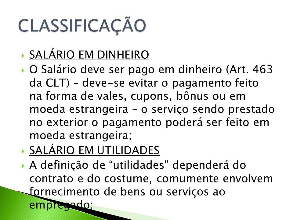 CLASSIFICAÇÃO SALÁRIO EM DINHEIRO