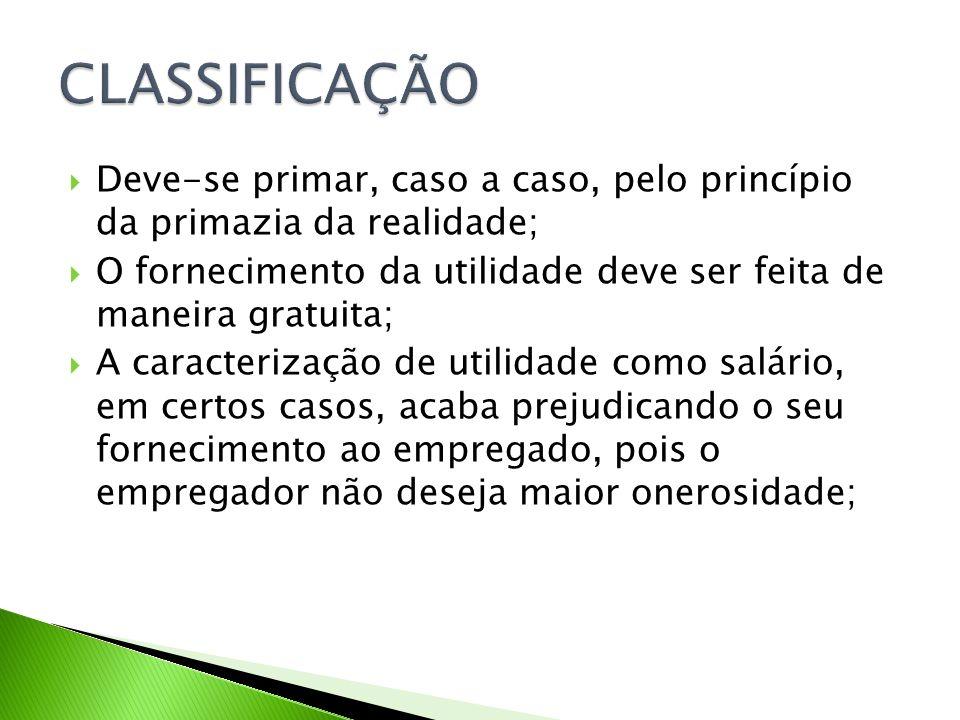 CLASSIFICAÇÃO Deve-se primar, caso a caso, pelo princípio da primazia da realidade;