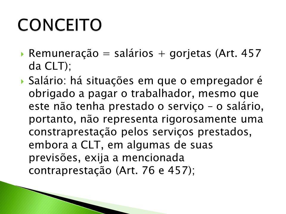 CONCEITO Remuneração = salários + gorjetas (Art. 457 da CLT);