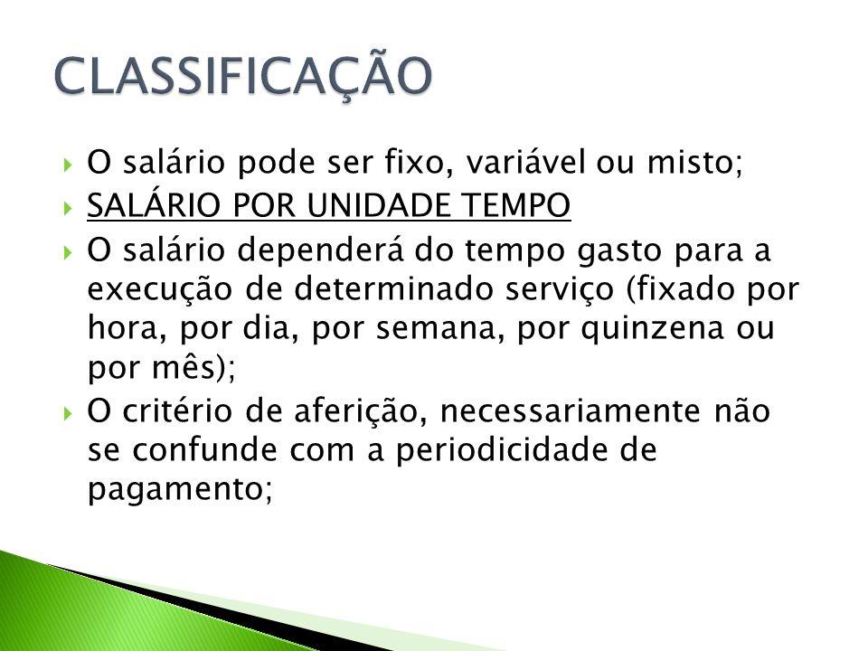 CLASSIFICAÇÃO O salário pode ser fixo, variável ou misto;