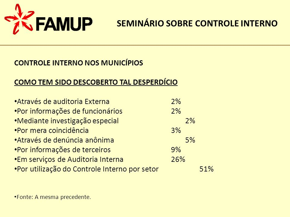 SEMINÁRIO SOBRE CONTROLE INTERNO