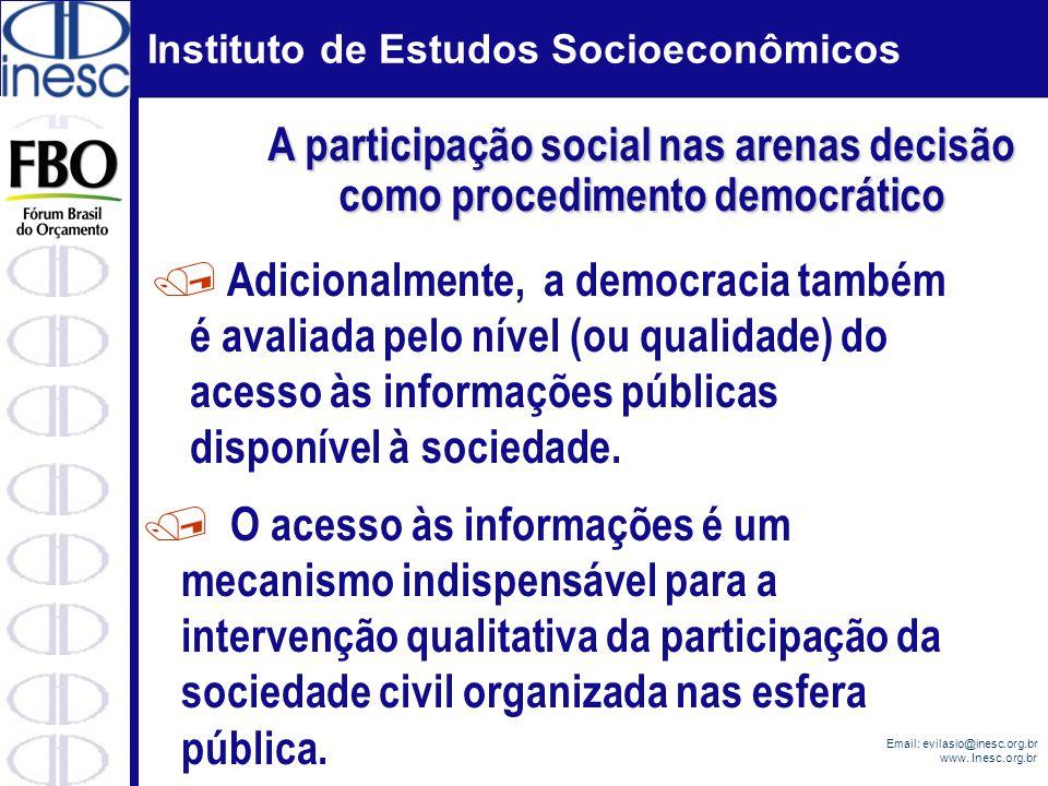 A participação social nas arenas decisão como procedimento democrático