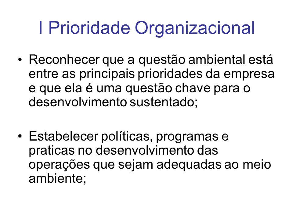 I Prioridade Organizacional