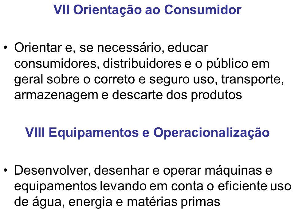 VII Orientação ao Consumidor VIII Equipamentos e Operacionalização