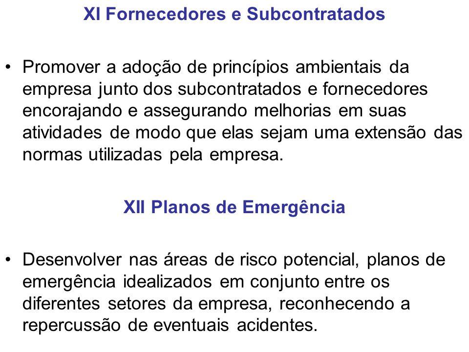XI Fornecedores e Subcontratados XII Planos de Emergência