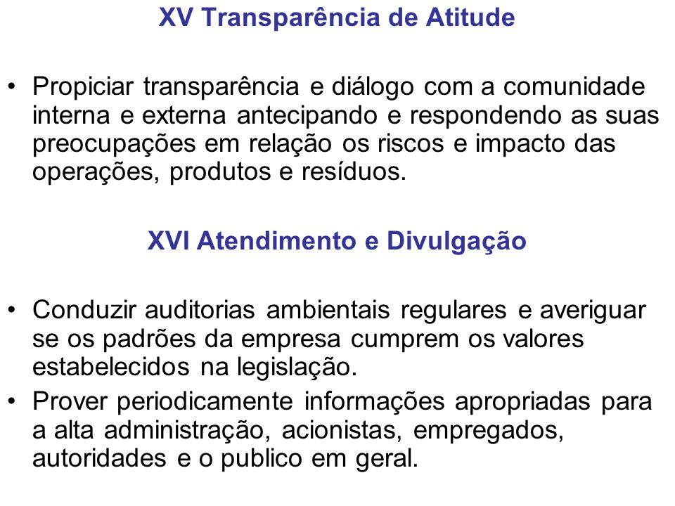 XV Transparência de Atitude XVI Atendimento e Divulgação