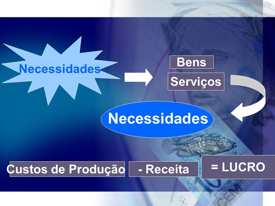 Necessidades Necessidades Bens Serviços = LUCRO Custos de Produção