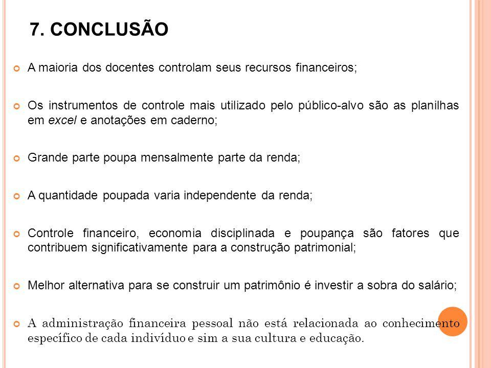 7. CONCLUSÃO A maioria dos docentes controlam seus recursos financeiros;