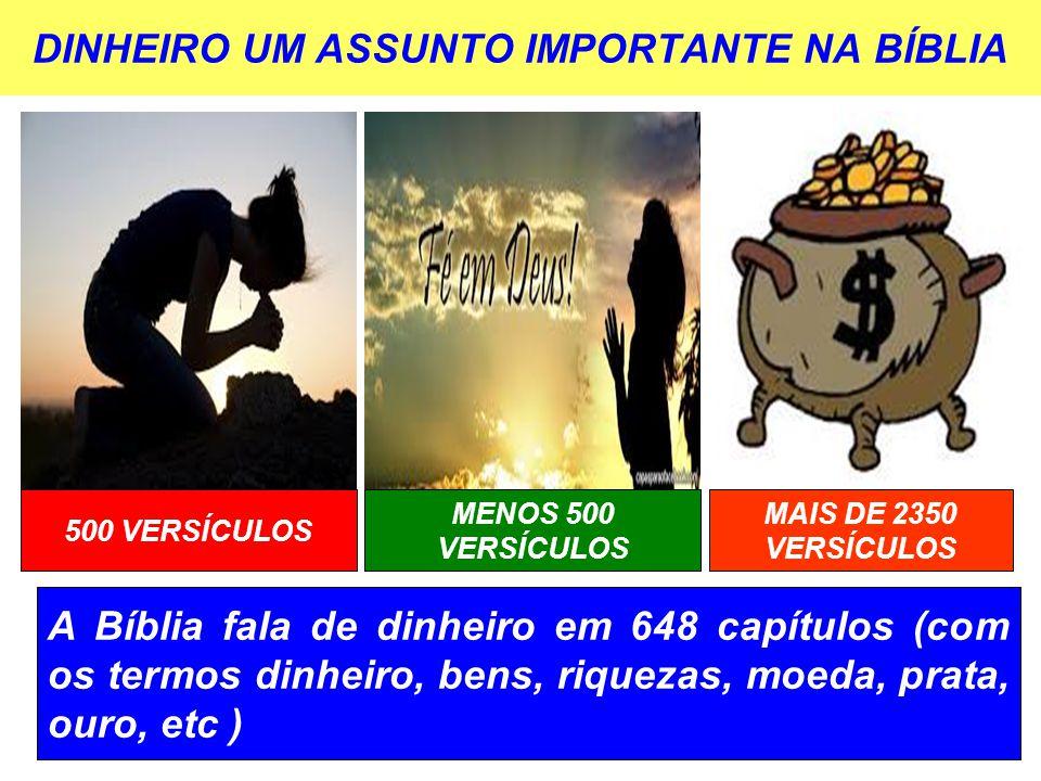 DINHEIRO UM ASSUNTO IMPORTANTE NA BÍBLIA