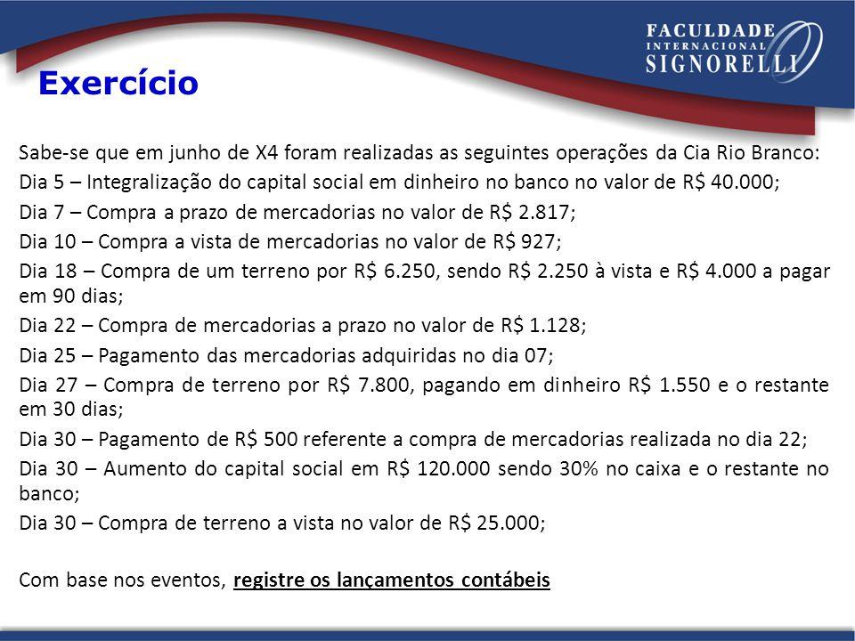 Exercício Sabe-se que em junho de X4 foram realizadas as seguintes operações da Cia Rio Branco: