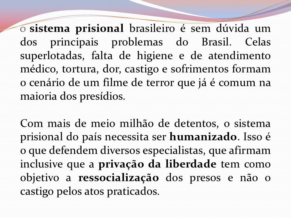 O sistema prisional brasileiro é sem dúvida um dos principais problemas do Brasil. Celas superlotadas, falta de higiene e de atendimento médico, tortura, dor, castigo e sofrimentos formam o cenário de um filme de terror que já é comum na maioria dos presídios.
