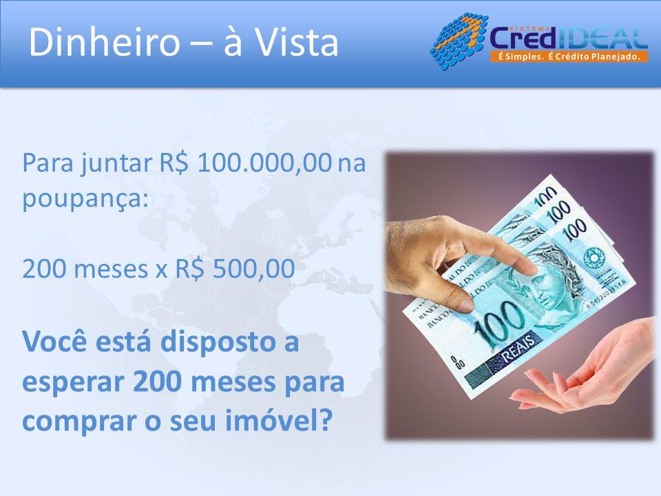 Dinheiro – à Vista Para juntar R$ 100.000,00 na poupança: 200 meses x R$ 500,00.