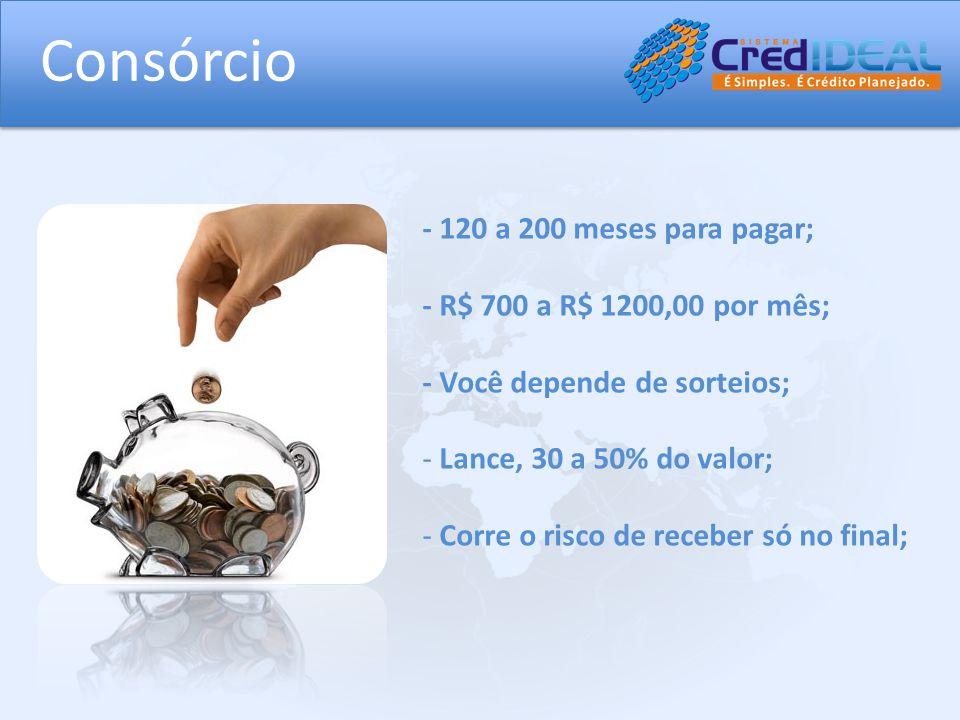 Consórcio - 120 a 200 meses para pagar; - R$ 700 a R$ 1200,00 por mês;