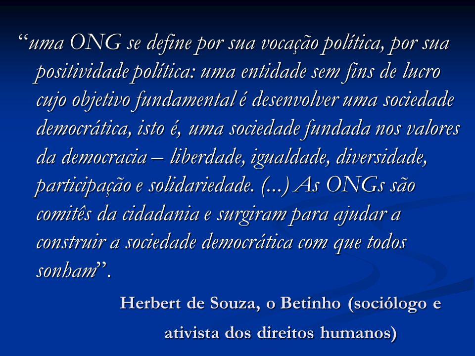uma ONG se define por sua vocação política, por sua positividade política: uma entidade sem fins de lucro cujo objetivo fundamental é desenvolver uma sociedade democrática, isto é, uma sociedade fundada nos valores da democracia – liberdade, igualdade, diversidade, participação e solidariedade. (...) As ONGs são comitês da cidadania e surgiram para ajudar a construir a sociedade democrática com que todos sonham .