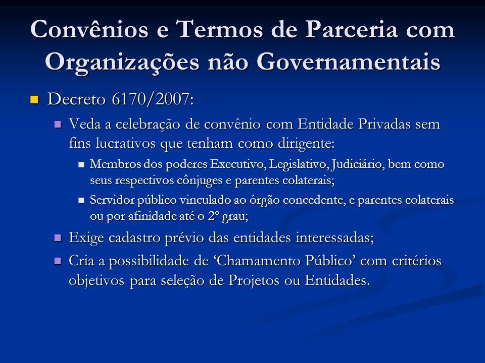 Convênios e Termos de Parceria com Organizações não Governamentais