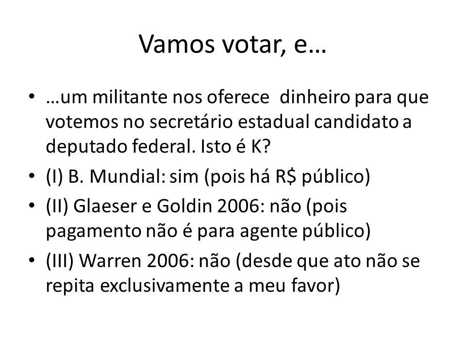 Vamos votar, e… …um militante nos oferece dinheiro para que votemos no secretário estadual candidato a deputado federal. Isto é K
