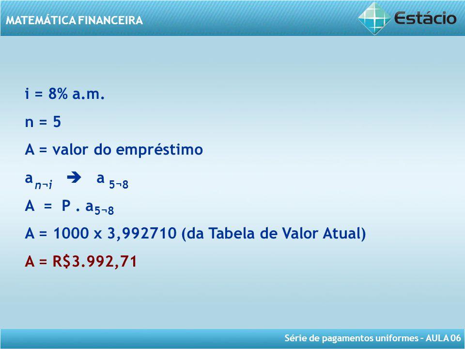 A = 1000 x 3,992710 (da Tabela de Valor Atual) A = R$3.992,71