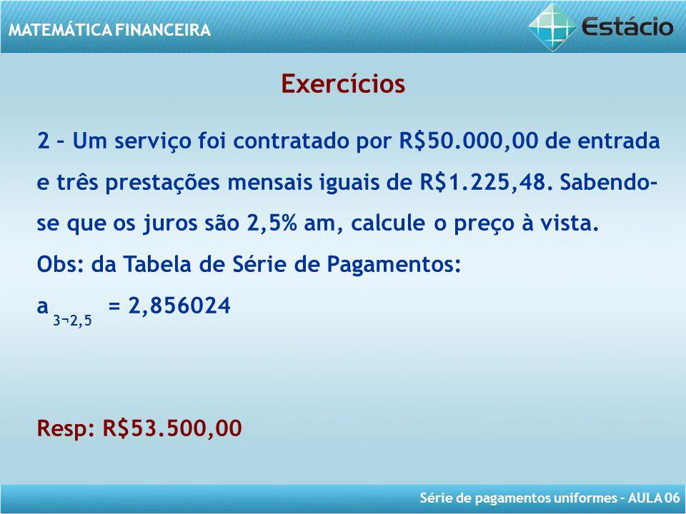 Taxa de juros Exercícios.