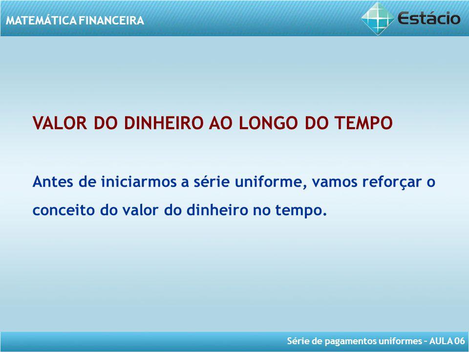 VALOR DO DINHEIRO AO LONGO DO TEMPO