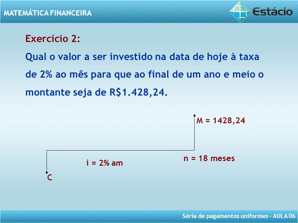 Taxa de juros Exercício 2: