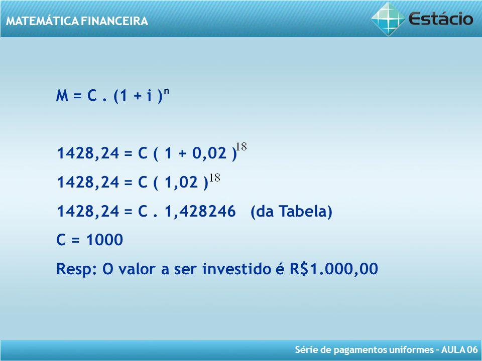 Resp: O valor a ser investido é R$1.000,00