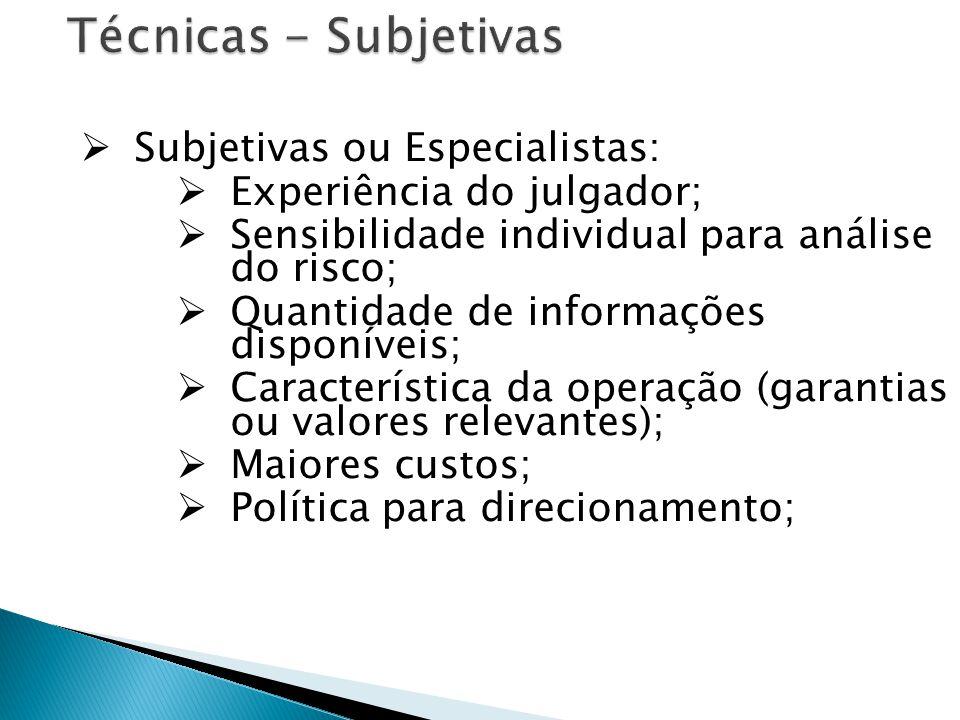 Técnicas - Subjetivas Subjetivas ou Especialistas: