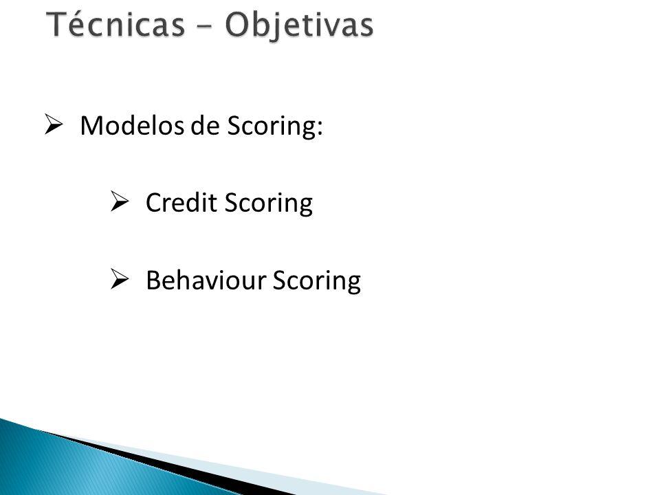 Técnicas - Objetivas Modelos de Scoring: Credit Scoring