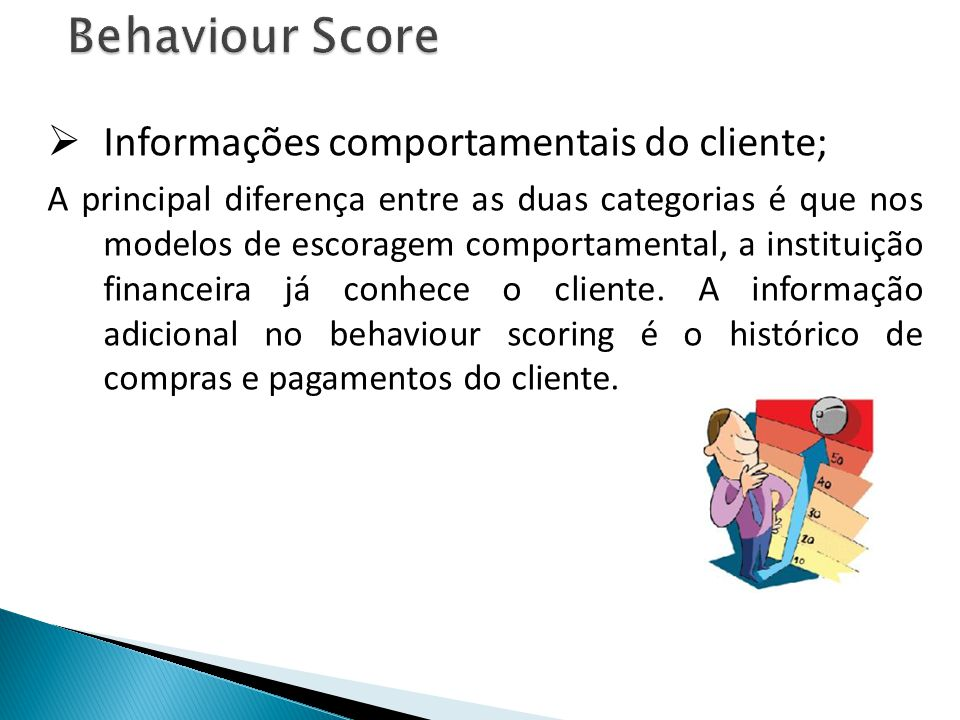 Behaviour Score Informações comportamentais do cliente;